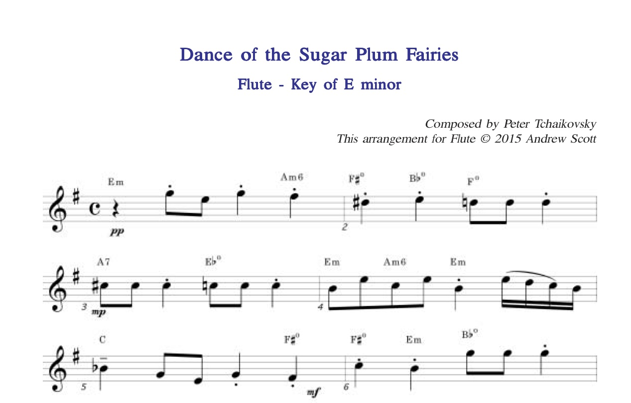 Dance of the Sugar Plum Fairies - Flute sheet Music