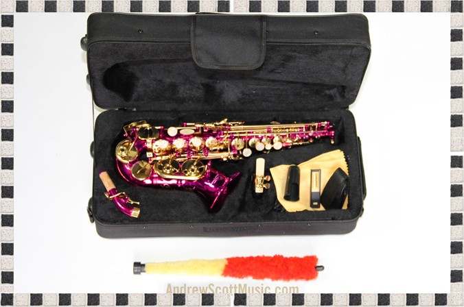 Hot Pink and Gold Alto Saxophone in Case