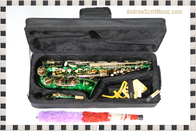 Green and Gold Alto Saxophone in Case