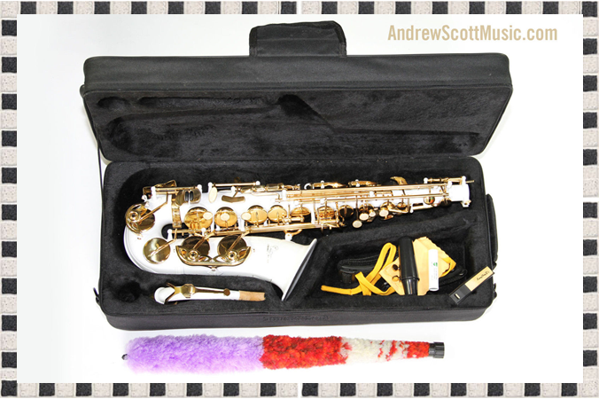 White and Gold Alto Saxophone in Case